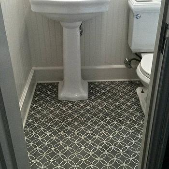 Walls And Charcoal Gray And White Interlocking Circles Floor Tile