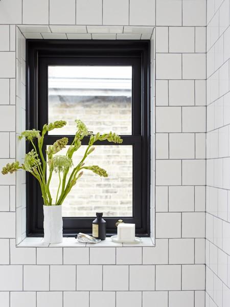 Tile Framed Bathroom Mirror: Black And White Shower Design