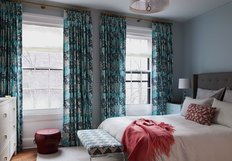turquoise and teal curtains contemporary bedroom cwb