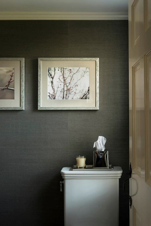 Phillip jeffries graphite manila on hemp grasscloth for Dark bathroom wallpaper