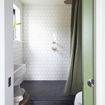 Hexagonal Bluestone Marble Tile Modern Bathroom