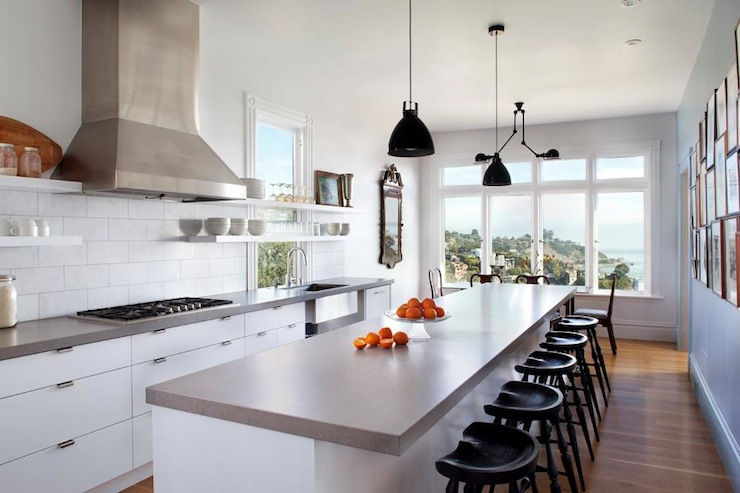 Floating shelves modern kitchen mark reilly architecture for Grey and white contemporary kitchens