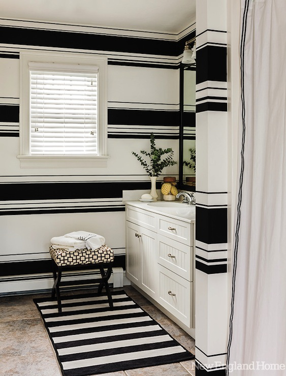 black and white striped bathroom black and white striped walls contemporary bathroom 22750