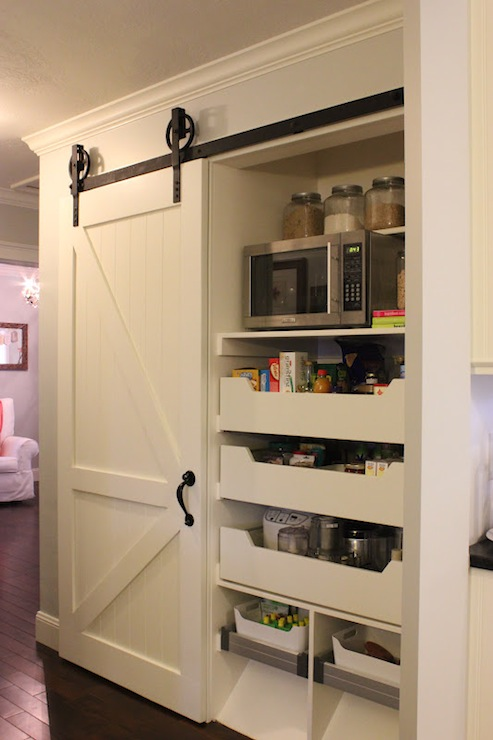 Pantry with barn door transitional kitchen yankee for Sliding pantry doors