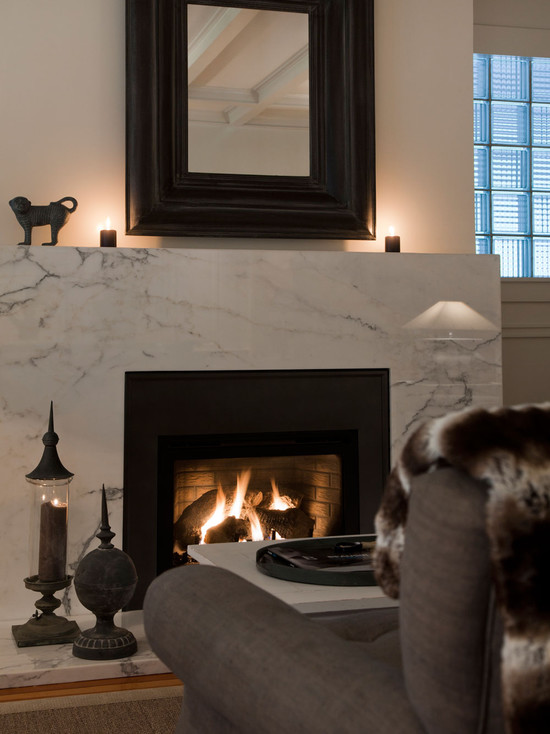 White Marble Fireplace Transitional Living Room