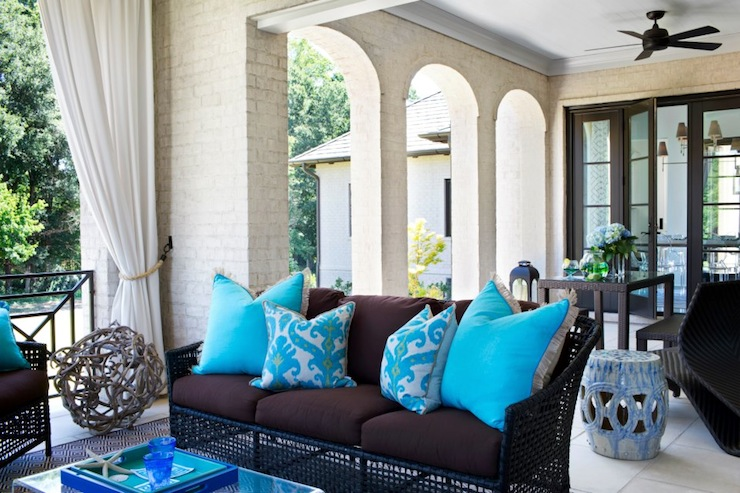 Turquoise Ikat Pillow Contemporary Deck Patio Tri