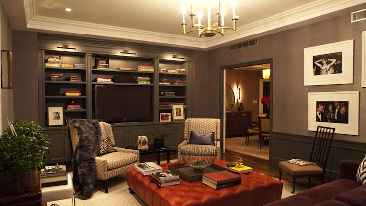 Tv Room With Gray Corner Wall Mount Tv Over Built In Media