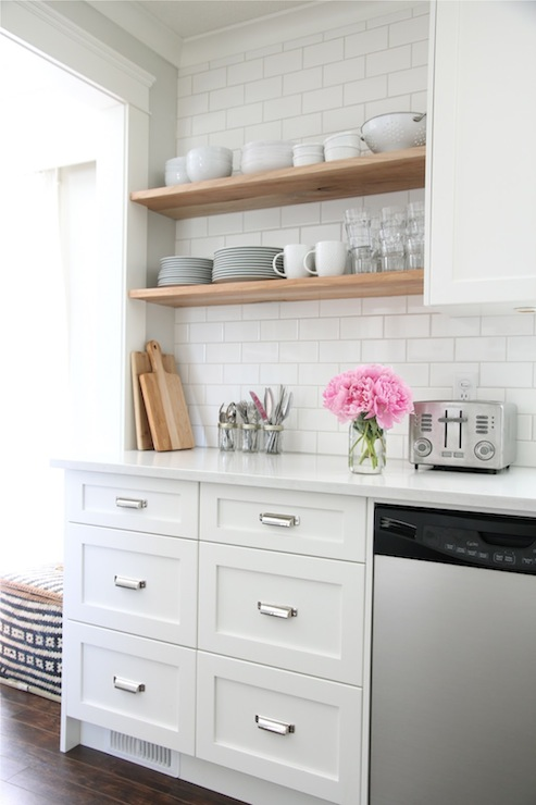 White Kitchen With White Shaker Cabinets Painted Benjamin Moore Cloud White  Accented With Restoration Hardware Duluth Pulls Paired With White Quartz ...