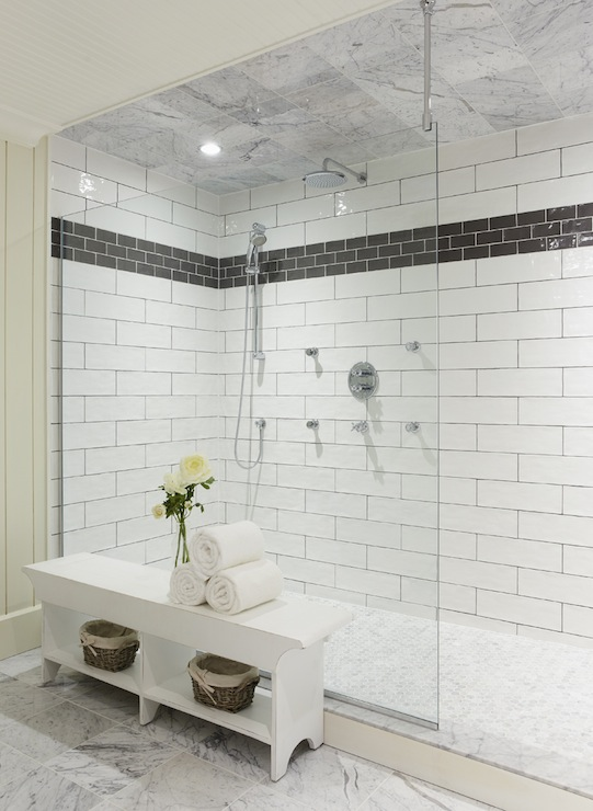 Subway tiled shower enclosure design ideas for Huge walk in shower