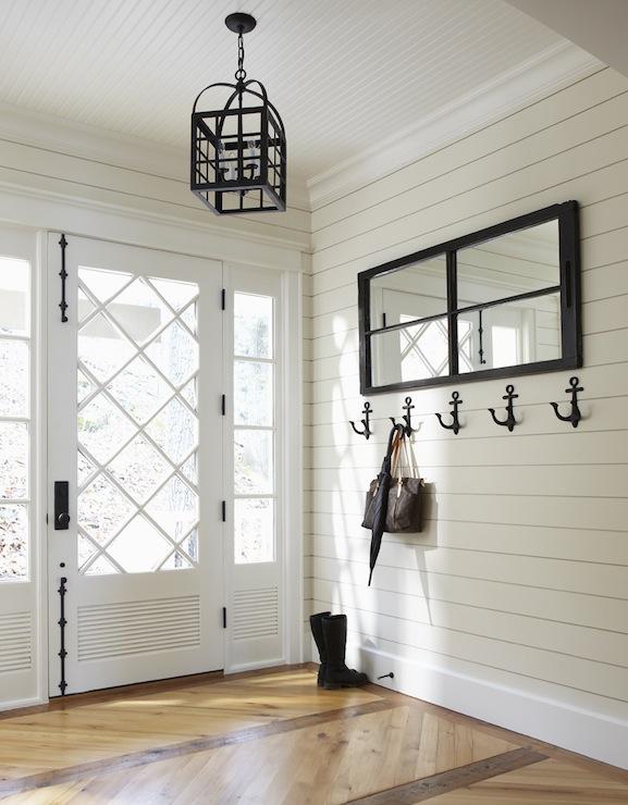 Nautical Foyer Ideas : Anchor coat hooks cottage entrance foyer muskoka living