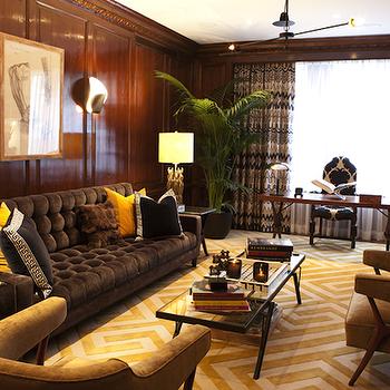 Gray Velvet Tufted Sofa, Eclectic, living room, Nanjoo Design