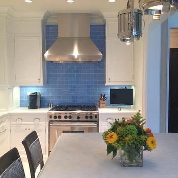 Blue Subway Tile Backsplash, Transitional, kitchen, TRI Traci Rhoads Interiors