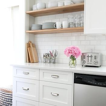 Floating Kitchen Shelves, Transitional, kitchen, Benjamin Moore Intense White, Our House