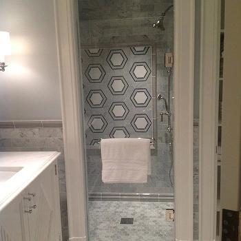 Hex Tile Shower, Transitional, bathroom, TRI Traci Rhoads Interiors