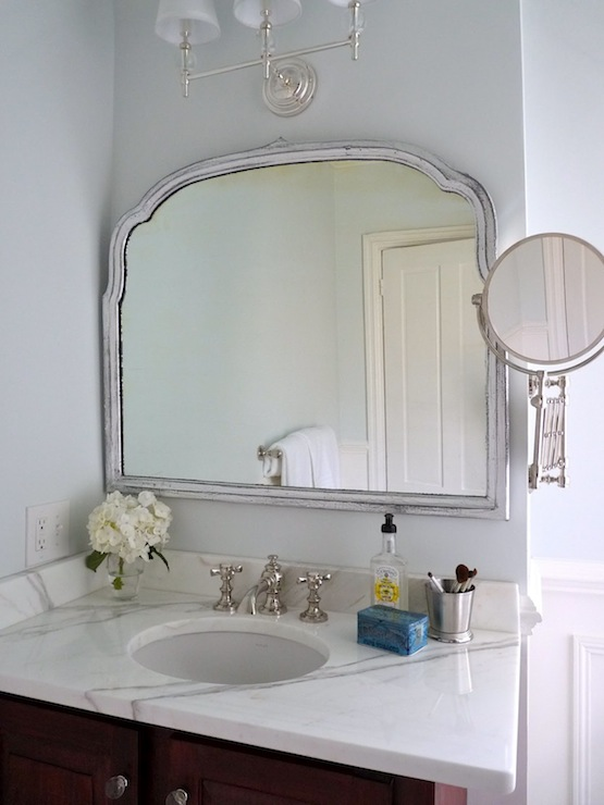 Amazing Bathroom With Restoration Hardware Wilshire Triple Sconce Accents Silver Leaf Mirror Over Calcutta Gold Marble Top Vanity