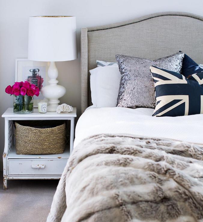 Gray linen headboard contemporary bedroom adore magazine for Headboard made pillows