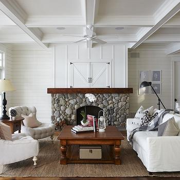 Coffered Ceiling, Cottage, living room, Muskoka Living
