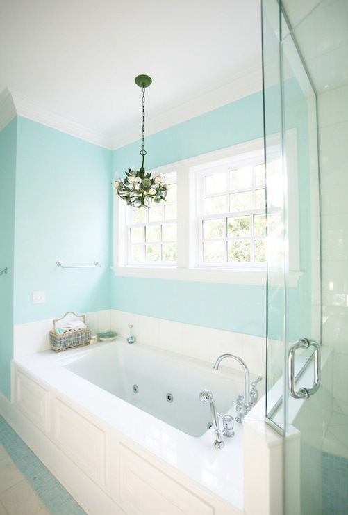 Tiffany blue paint colors contemporary bathroom for Tiffany d living room