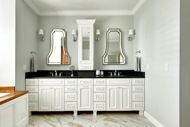 white double vanity with black countertop contemporary bathroom