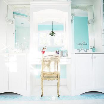 Turquoise Blue Bathroom, Contemporary, bathroom, Sherwin Williams Spa, Echelon Custom Homes