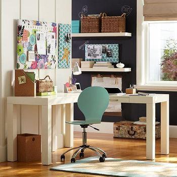 Wood Top White Shutter Drawers Corner Desk Set