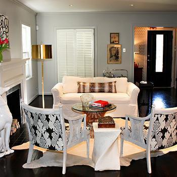 Kelly Wearstler Bengal Bazaar Fabric in Graphite, Contemporary, living room, Sally Wheat Interiors