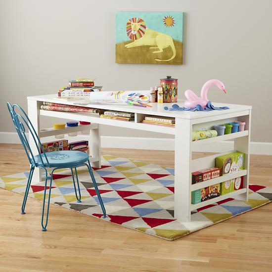 Kids White Play Table With Side Bin   The Land Of Nod