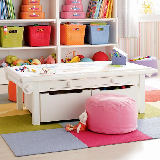 Kids white adjustable activity table the land of nod Land of nod playroom ideas