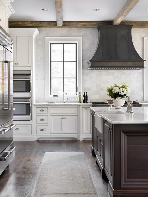 Zinc kitchen hood transitional kitchen l kae interiors for Beautiful kitchen designs with white cabinets