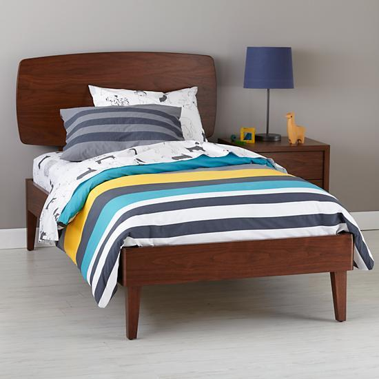 walnut retro ellipse bed the land of nod. Black Bedroom Furniture Sets. Home Design Ideas