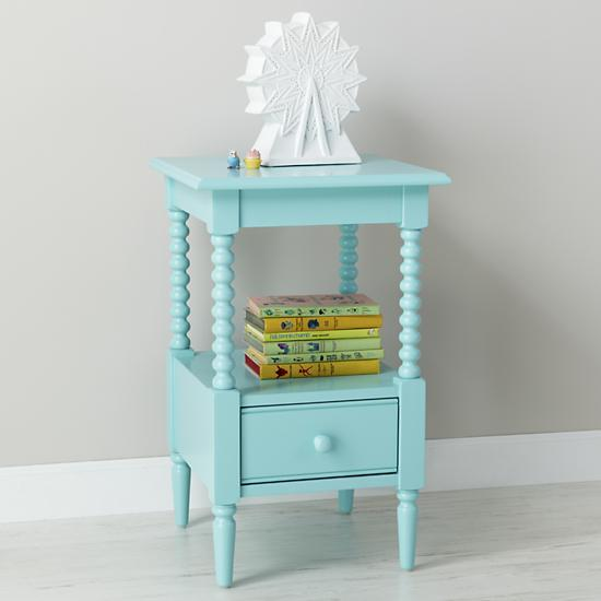 Kids Light Blue Spindle Nightstand   The Land Of Nod