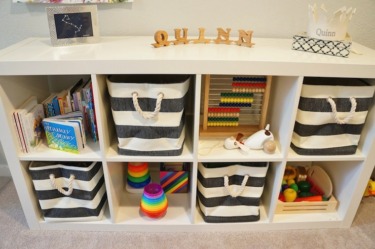 The Container Store Rugby Stripe Bins Contemporary basement