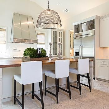 White Slipcovered Bar Stools, Transitional, kitchen, Bay Hill Design