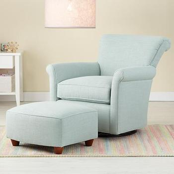 Blue Swivel Glider Chair and Ottoman, The Land of Nod