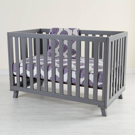 Baby Painted Grey Low Rise Modern Crib The Land Of Nod