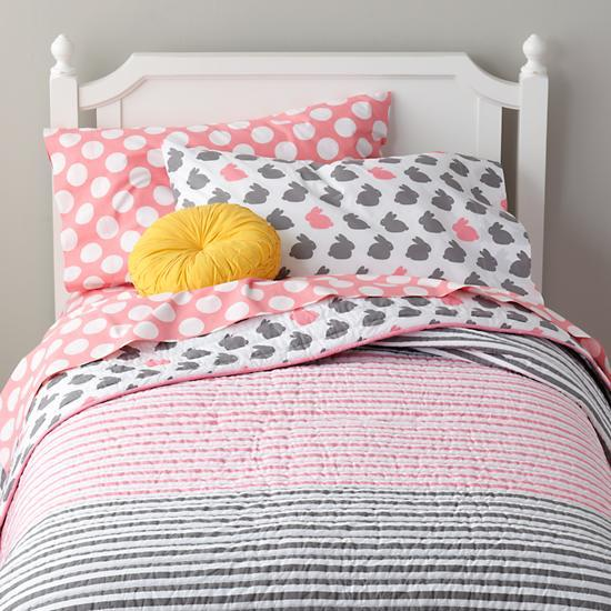 grey pink bunny bedding the land of nod. Black Bedroom Furniture Sets. Home Design Ideas