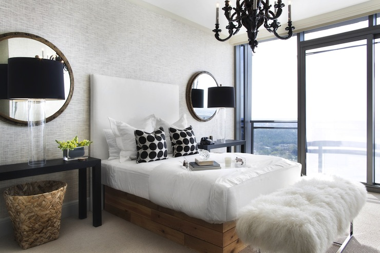 Black parsons table contemporary bedroom lonny magazine for Black and white modern bedroom ideas