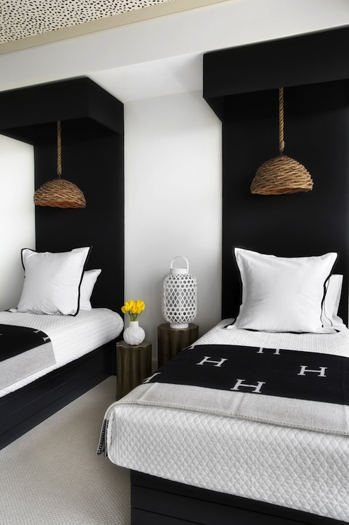 Of Pieces Black And White Bedroom With Floor To Ceiling Black