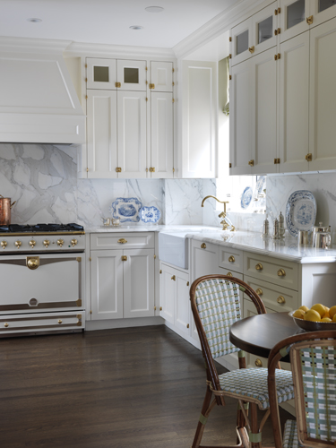 White Kitchen cabinets with Brass Hardware - Transitional ...