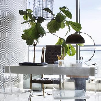 Lucite Chairs, Contemporary, den/library/office, Lonny Magazine
