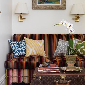Striped Sofa, Eclectic, living room, Elizabeth Bauer Design