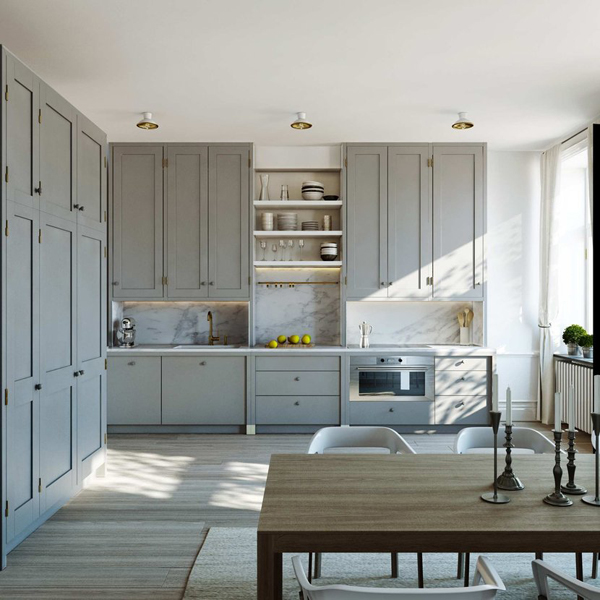 Gray kitchen cabinets contemporary kitchen esny for Full wall kitchen units
