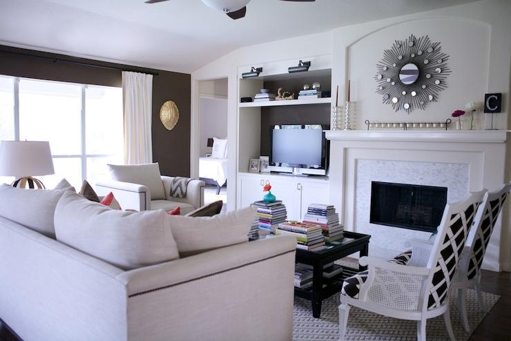 built in media cabinet transitional living room behr aging barrel paloma contreras. Black Bedroom Furniture Sets. Home Design Ideas