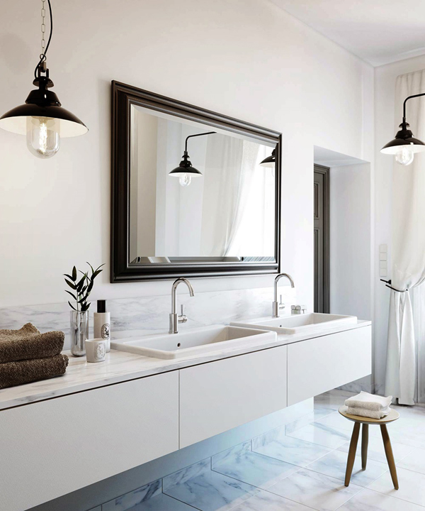 View Full Size Stunning Bathroom Design With Modern White