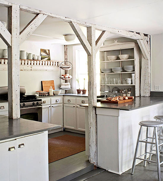 Beautiful Kitchen With Exposed Whitewashed Beams And White Kitchen Cabinetry