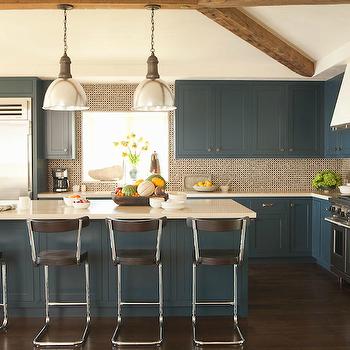 Peacock Blue Kitchen Cabinets, Contemporary, kitchen, Taylor Borsari