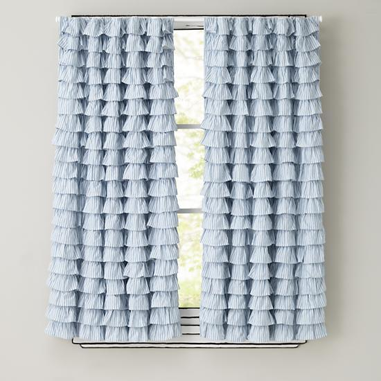 Light Blue Ruffled Curtain Panels The Land Of Nod