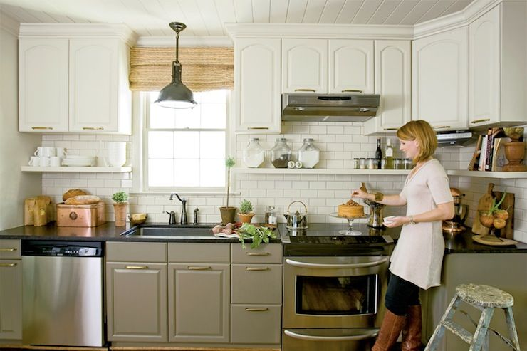 Two Tone Kitchen Cabinets  Cottage  kitchen  Farrow & Ball Lime