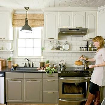 Two Tone Kitchen Cabinets, Cottage, kitchen, Farrow & Ball Lime White, Urban Grace Interiors
