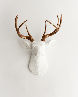 Stag Deer Head | White Faux Taxidermy